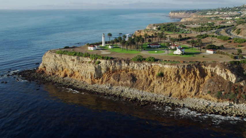 8K stock footage aerial video approaching and flying by the Point Vicente Lighthouse in Rancho Palos Verdes, California Aerial Stock Footage | AX0161_027
