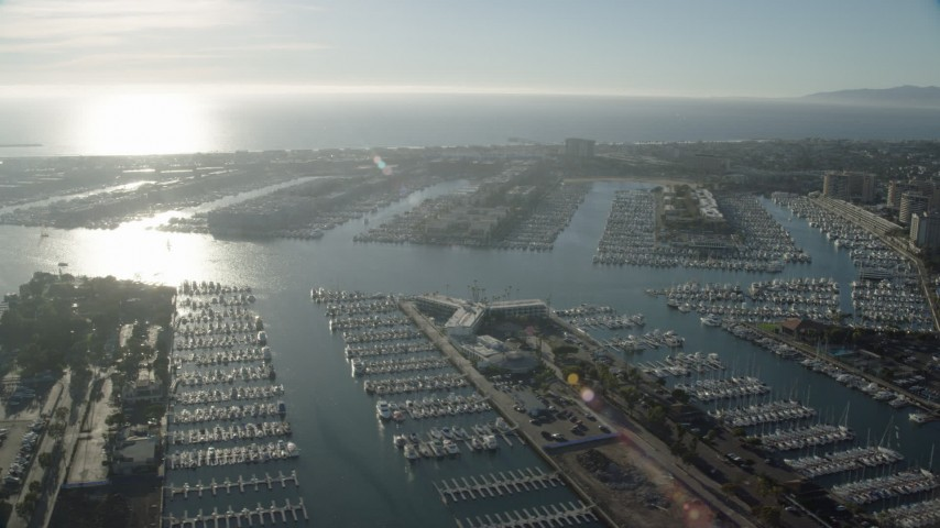 8K stock footage aerial video of apartment buildings by the water and marinas in Marina Del Rey, California Aerial Stock Footage | AX0161_057
