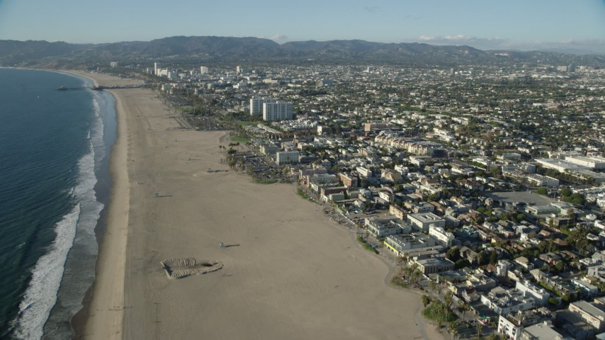 8K aerial video flying over Venice Beach in Venice, California Aerial Stock Footage | AX0161_063
