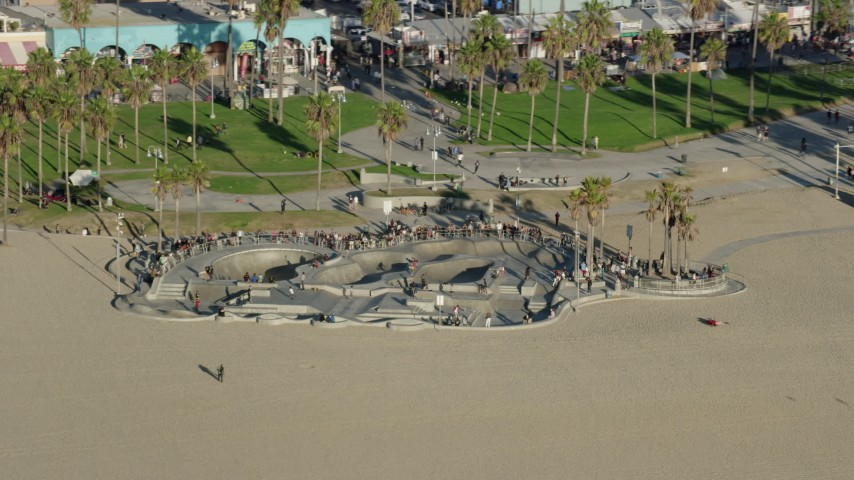 8K aerial video of Venice Skate Park on Venice Beach in Venice, California Aerial Stock Footage | AX0161_064