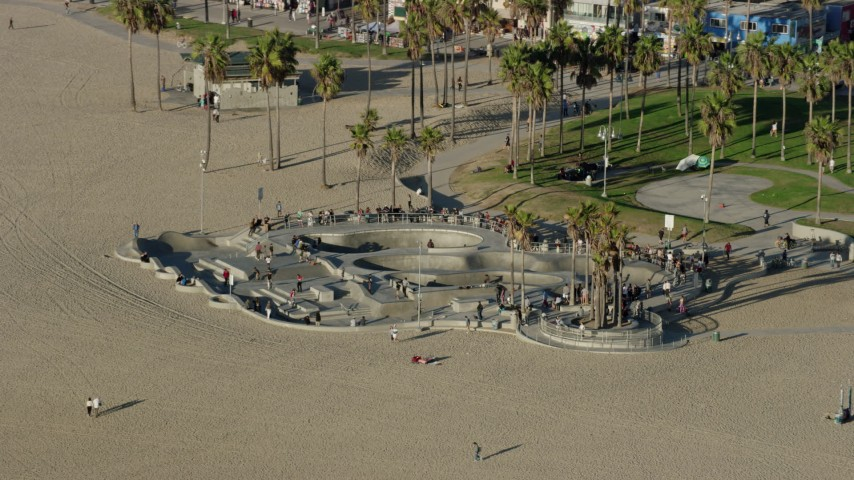 8K stock footage aerial video of the Venice Skate Park on Venice Beach in Venice, California Aerial Stock Footage | AX0161_065
