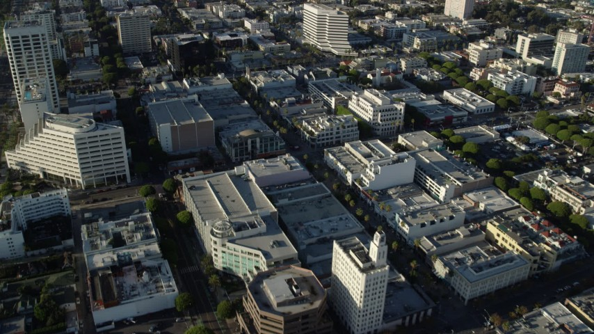8K stock footage aerial video following 2nd Street past shops and office buildings in Santa Monica, California Aerial Stock Footage | AX0161_070