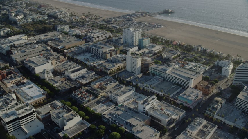 8K stock footage aerial video of 3rd Street Promenade shops and office buildings in Santa Monica, California Aerial Stock Footage | AX0161_071
