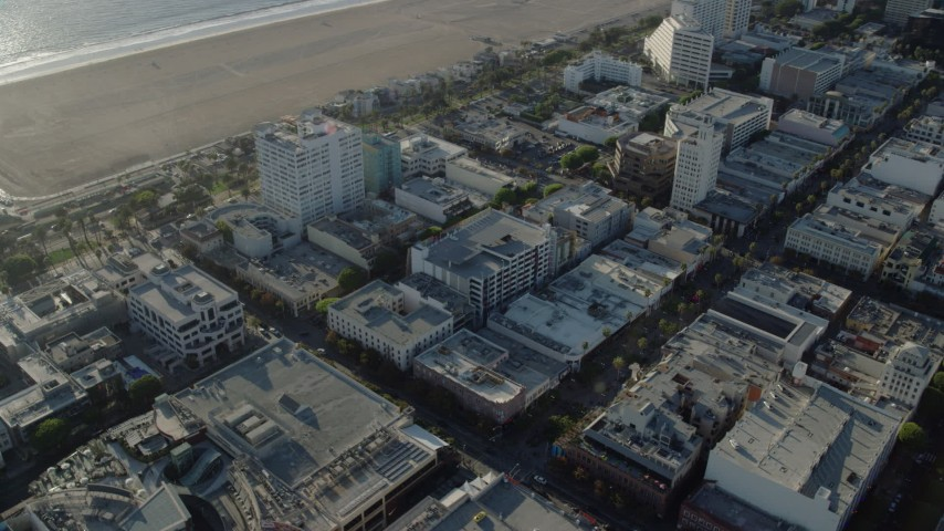 8K stock footage aerial video of shops on the 3rd Street Promenade in Santa Monica, California Aerial Stock Footage | AX0161_072