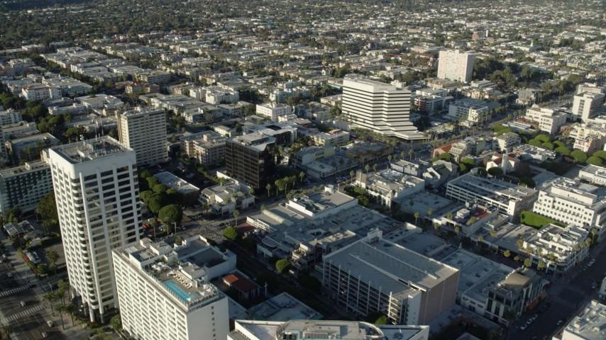 8K stock footage aerial video of office buildings in Santa Monica, California Aerial Stock Footage | AX0161_074