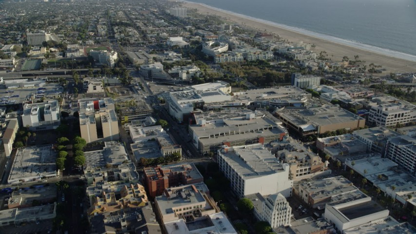 8K stock footage aerial video flying over office buildings and Santa Monica Place mall to approach RAND Corporation offices in Santa Monica, California Aerial Stock Footage | AX0161_075