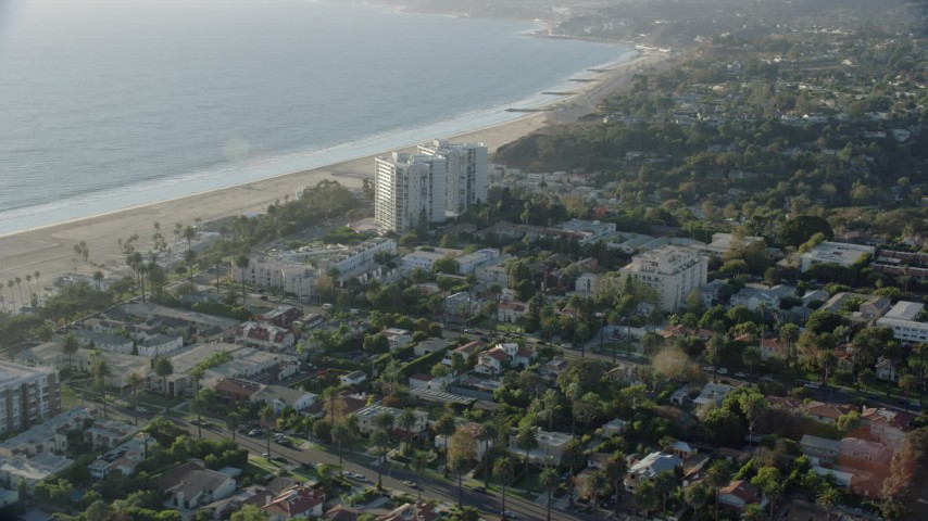 8K stock footage aerial video of Ocean Towers Condominium Complex and neighborhoods near the coast in Santa Monica, California Aerial Stock Footage | AX0161_083