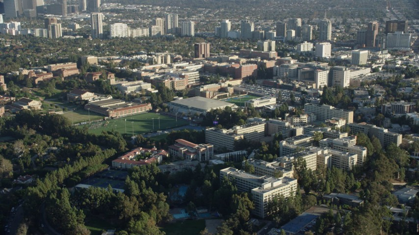 8K aerial video of the UCLA campus in Los Angeles, California Aerial Stock Footage | AX0161_089