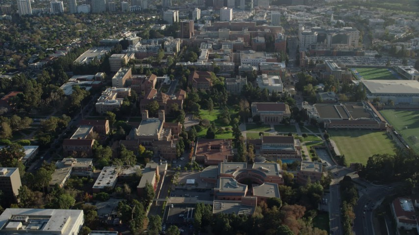 8K stock footage aerial video of an orbit of campus buildings at College in Los Angeles, California Aerial Stock Footage | AX0161_090