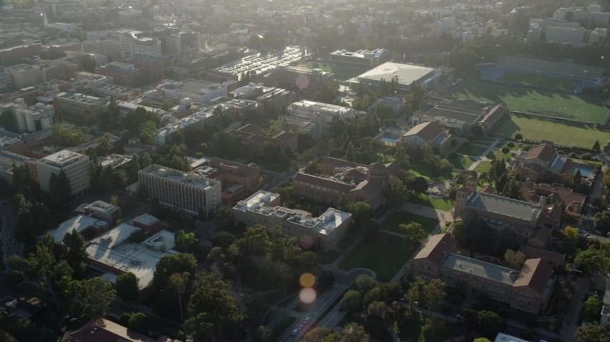8K stock footage aerial video orbiting buildings on the College campus in Los Angeles, California Aerial Stock Footage | AX0161_091