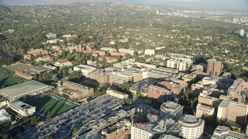 8K aerial video of the UCLA campus buildings and sports fields in Los Angeles, California Aerial Stock Footage | AX0161_094