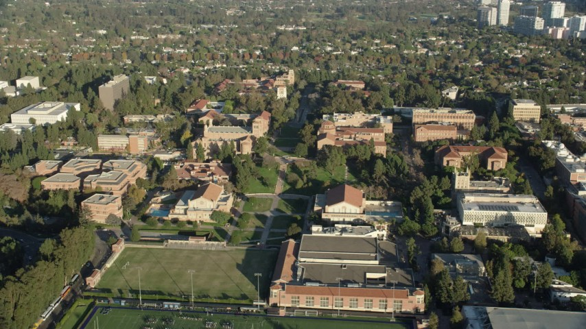 8K stock footage aerial video of the College campus around Wilson Plaza, Los Angeles, California Aerial Stock Footage | AX0161_095