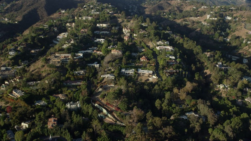 8K stock footage aerial video of spacious hillside mansions in Beverly Hills, California Aerial Stock Footage | AX0161_099