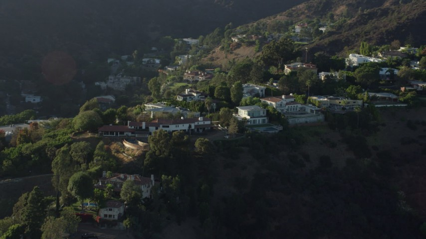 8K stock footage aerial video of hilltop mansions in Beverly Hills, California Aerial Stock Footage | AX0161_100
