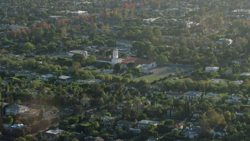 8K stock footage aerial video of the Hawthorne School in Beverly Hills, California Aerial Stock Footage | AX0161_106