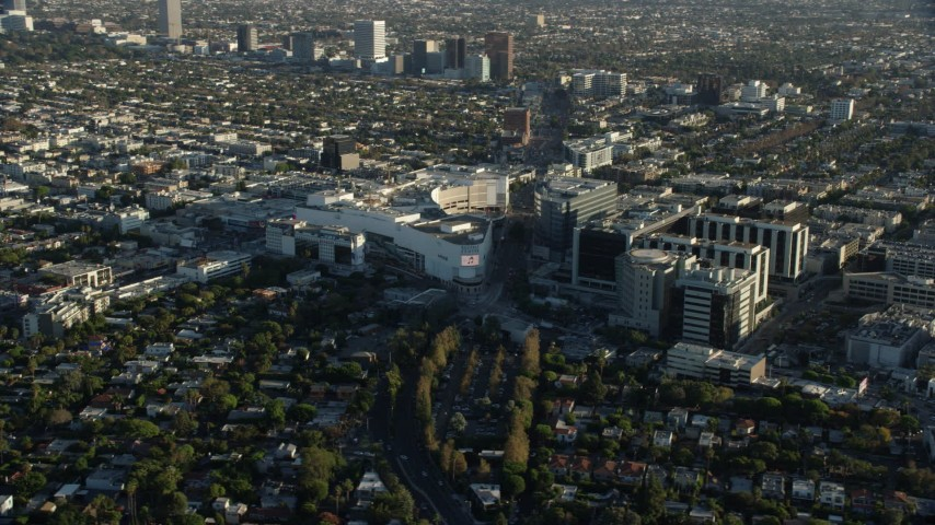 8K stock footage aerial video of the Beverly Center mall and Cedars-Sinai Medical Center in Beverly Hills, California Aerial Stock Footage | AX0161_119
