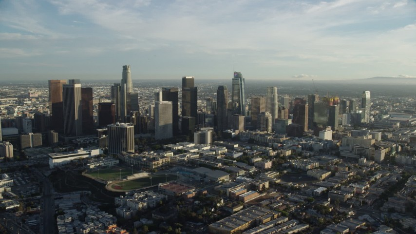 8K stock footage aerial video approaching the skyline in Downtown Los Angeles, California Aerial Stock Footage | AX0162_003