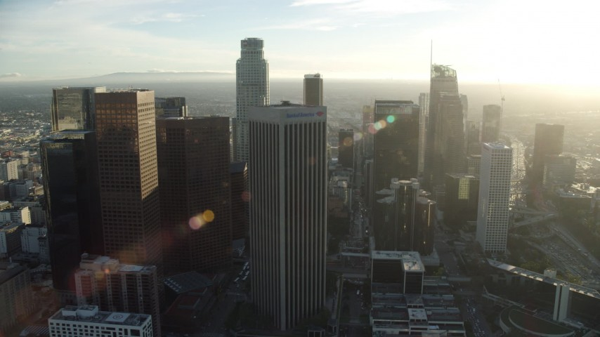 8K stock footage aerial video of skyscrapers around the Westin Bonaventure Hotel in Downtown Los Angeles, California Aerial Stock Footage | AX0162_011