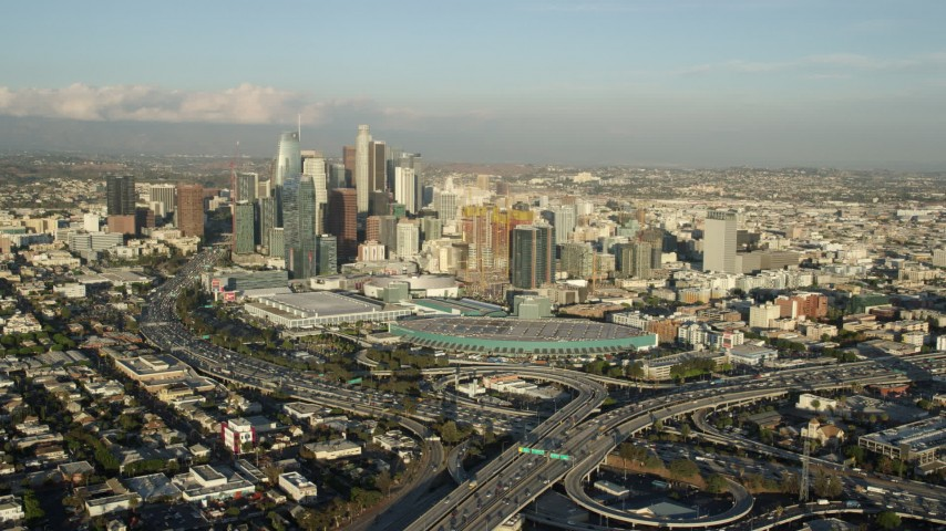 8K stock footage aerial video of Downtown Los Angeles, California seen from the 10 / 110 interchange Aerial Stock Footage | AX0162_016