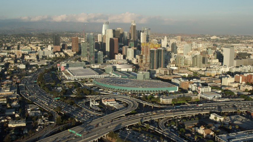 8K stock footage aerial video approaching Downtown Los Angeles, California from the 10 / 110 interchange Aerial Stock Footage | AX0162_017