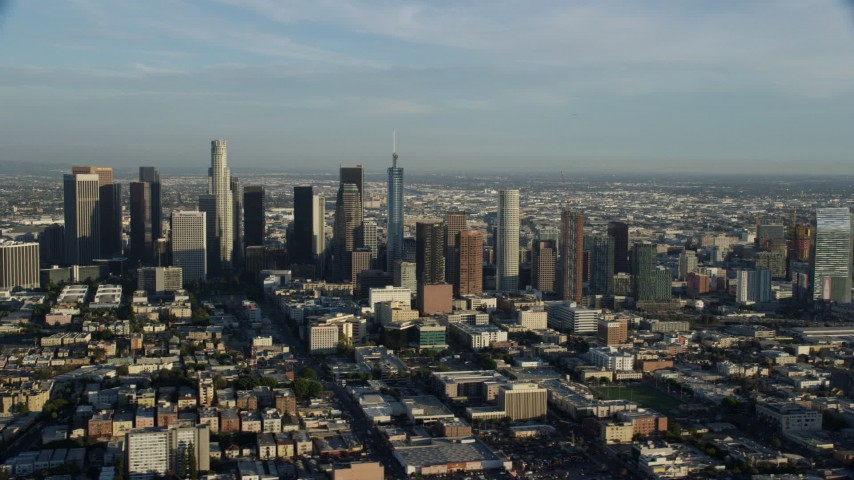 8K aerial video of skyscrapers in Downtown Los Angeles, California Aerial Stock Footage | AX0162_025