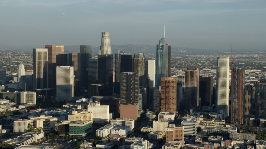 8K stock footage aerial video of a group of skyscrapers in Downtown Los Angeles, California Aerial Stock Footage | AX0162_026