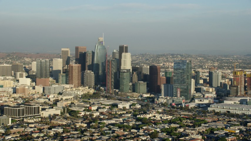 8K stock footage aerial video of a group of tall skyscrapers in Downtown Los Angeles, California Aerial Stock Footage | AX0162_028