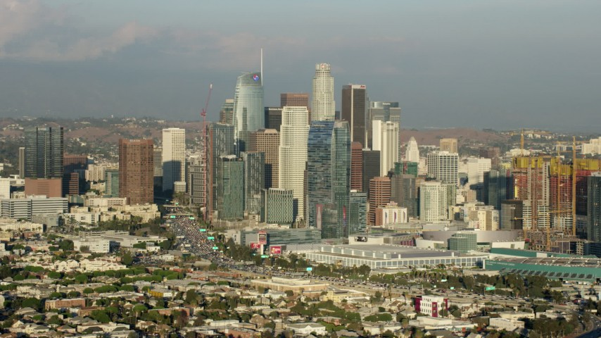 8K aerial video of tall skyscrapers of the Downtown Los Angeles skyline, California Aerial Stock Footage | AX0162_029