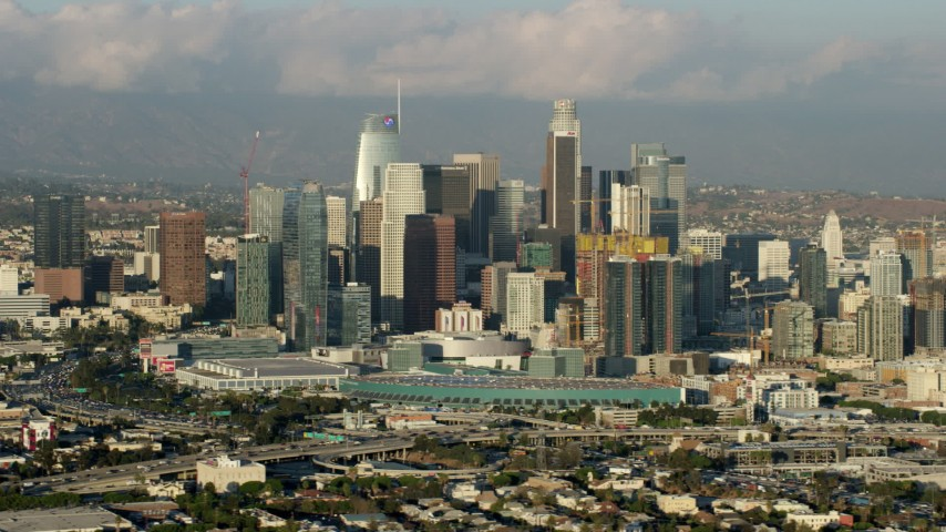 8K stock footage aerial video of the skyline from west of Downtown Los Angeles, California Aerial Stock Footage | AX0162_030
