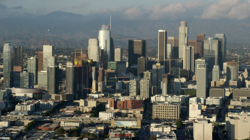 8K stock footage aerial video of the skyline from the west side of Downtown Los Angeles, California Aerial Stock Footage | AX0162_031