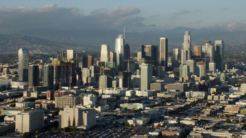 8K stock footage aerial video of the west side of Downtown Los Angeles, California Aerial Stock Footage | AX0162_032