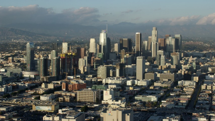 8K stock footage aerial video of the west side of Downtown Los Angeles, California, seen from I-10 Aerial Stock Footage | AX0162_033