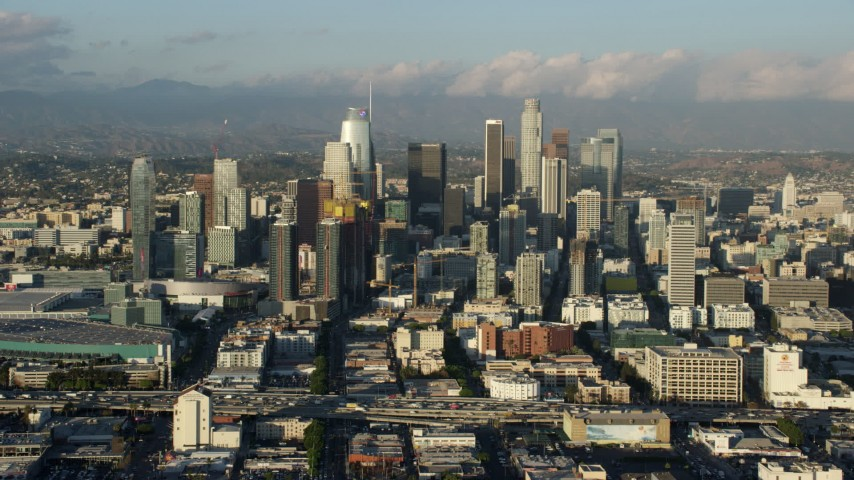 8K aerial video of Downtown Los Angeles, California, seen from I-10 Aerial Stock Footage AX0162_034