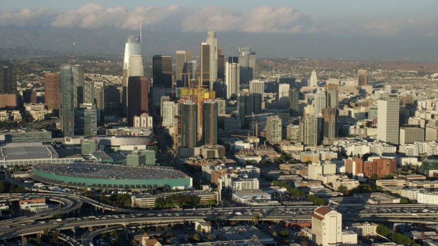 8K stock footage aerial video of Downtown Los Angeles, California, seen from near the convention center Aerial Stock Footage | AX0162_035