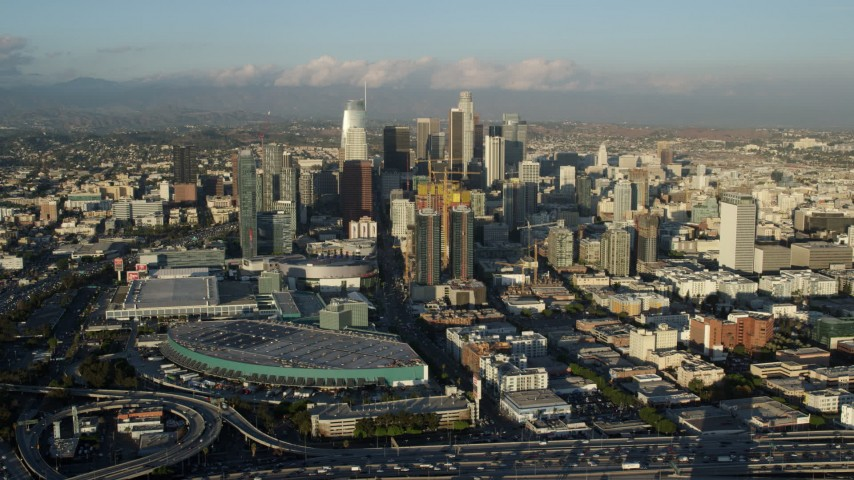 8K aerial video of Downtown Los Angeles, California, seen from the interchange and convention center Aerial Stock Footage | AX0162_036