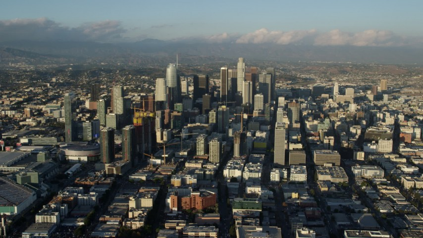 8K stock footage aerial video of the LA Convention Center and skyscrapers in Downtown Los Angeles, California Aerial Stock Footage | AX0162_037