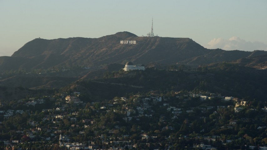 8K stock footage aerial video of the Hollywood Sign and Griffith Observatory in Los Angeles, California Aerial Stock Footage | AX0162_045