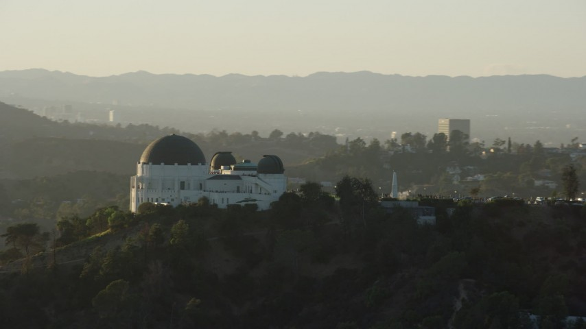8K stock footage aerial video orbiting the Griffith Observatory in Los Angeles, California Aerial Stock Footage | AX0162_050
