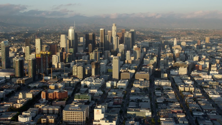 8K aerial video of skyscrapers and high-rises in Downtown Los Angeles, California Aerial Stock Footage | AX0162_064