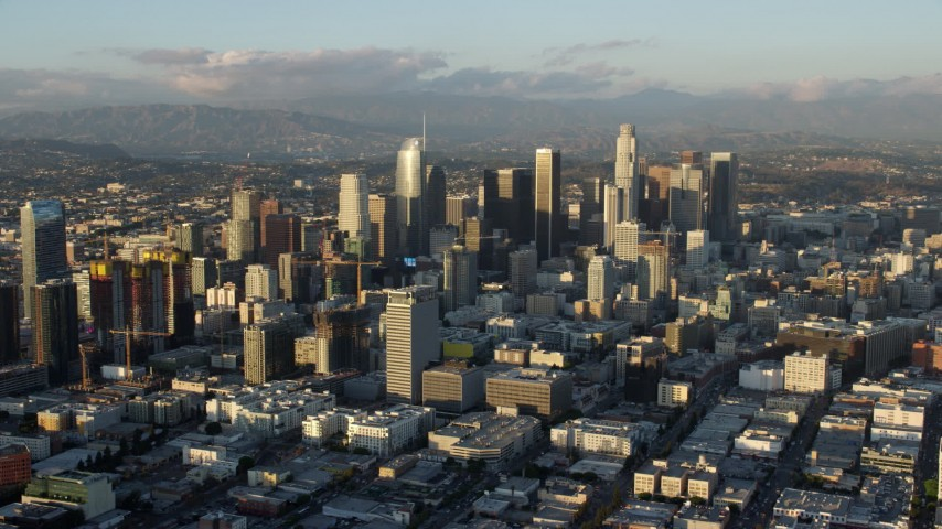8K stock footage aerial video towering skyscrapers and high-rises in Downtown Los Angeles, California Aerial Stock Footage | AX0162_065