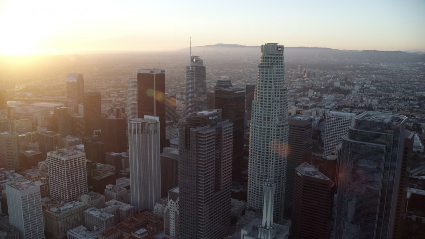 8K stock footage aerial video of tall towers of downtown at sunset in Downtown Los Angeles, California Aerial Stock Footage | AX0162_084