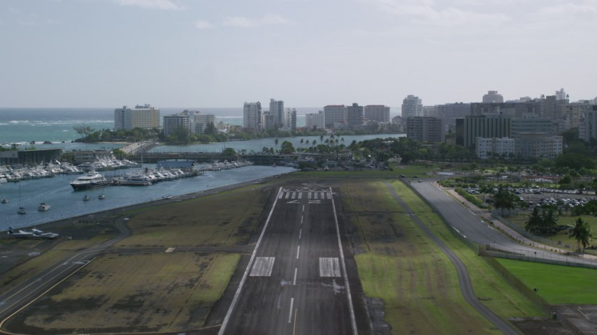 5k Aerial Video Taking Off from Isla Grande Airport, San Juan Puerto Rico Aerial Stock Footage | AX101_002