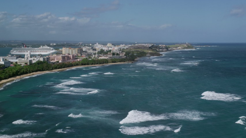 5k Aerial Video of the Island Coastline in the Caribbean, San Juan Puerto Rico Aerial Stock Footage | AX101_007
