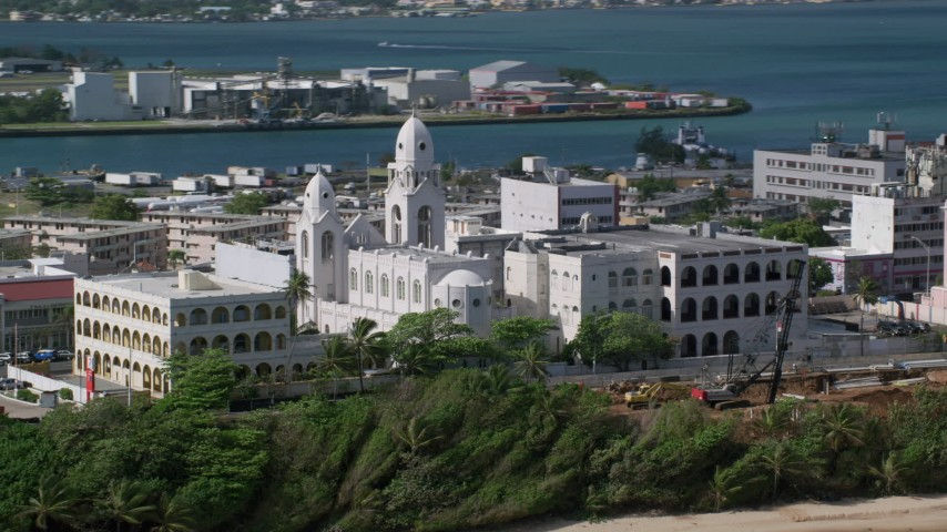 5k Aerial Video of a Cathedral on Caribbean Island, San Juan Puerto Rico Aerial Stock Footage | AX101_008