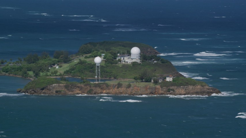 5k Aerial Video of Punta Salinas Radar Site in the blue waters of the Caribbean, Toa Baja Puerto Rico Aerial Stock Footage | AX101_027