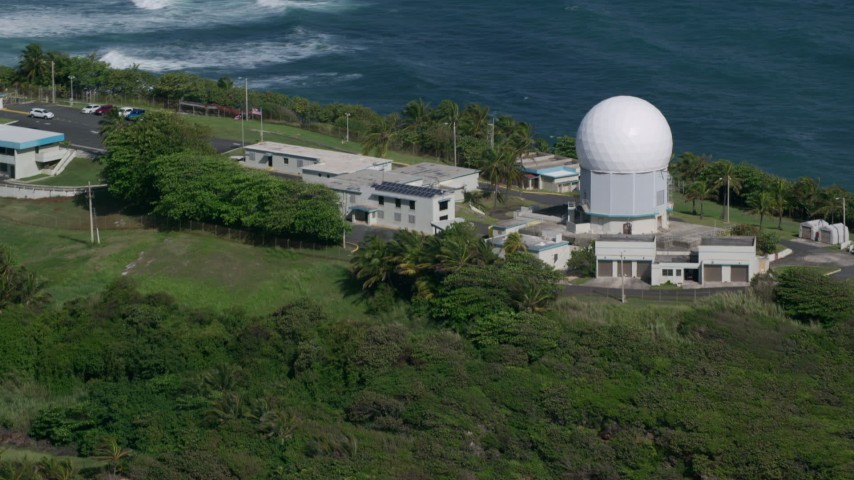 5k Aerial Video of Punta Salinas Radar Site in the blue waters of the Caribbean, Toa Baja Puerto Rico Aerial Stock Footage | AX101_029