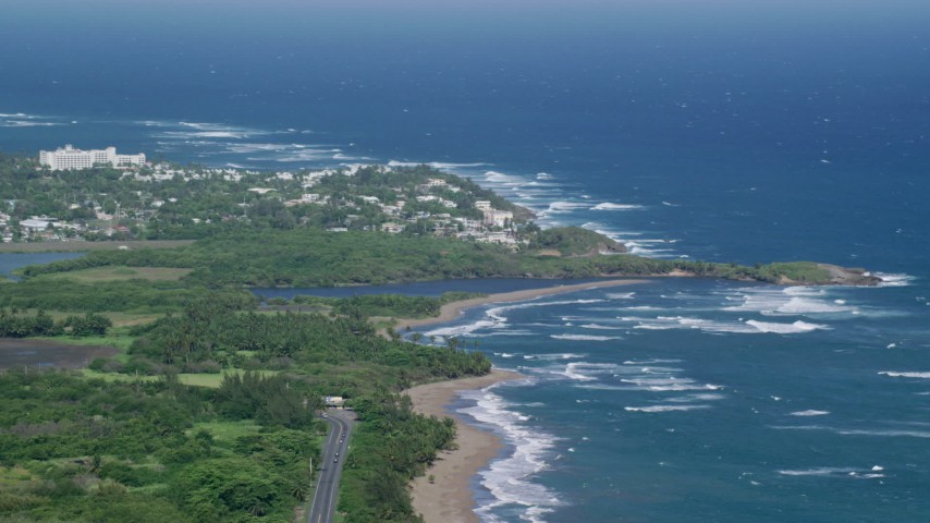 5k Aerial Video of aResort town along the blue Caribbean coastal waters, Dorado, Puerto Rico Aerial Stock Footage | AX101_031