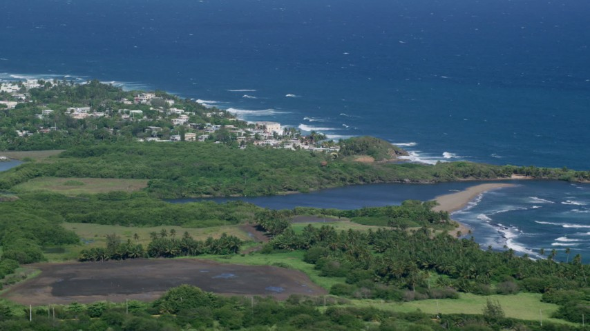 5k Aerial Video of a Resort town along the blue Caribbean coastal waters, Dorado, Puerto Rico Aerial Stock Footage | AX101_032