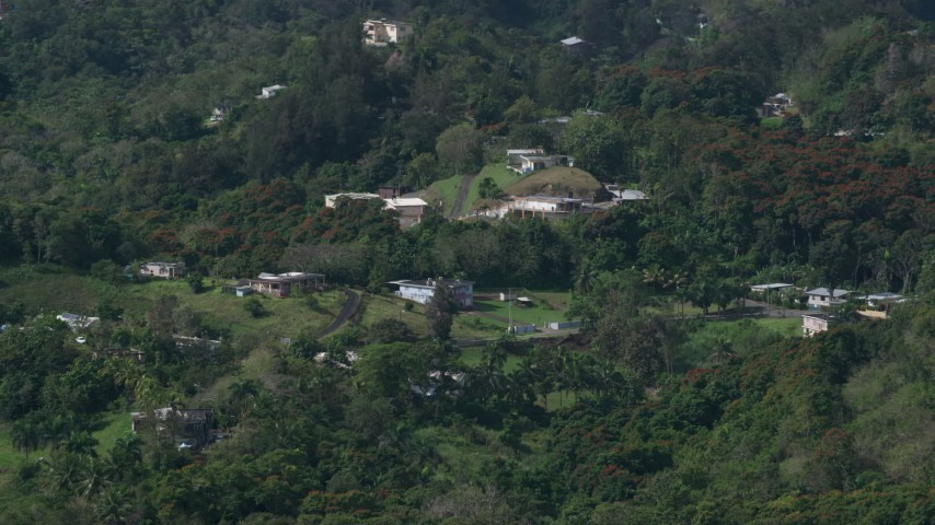 5k Aerial Video of Rural homes in the tree covered hills, Vega Baja, Puerto Rico  Aerial Stock Footage | AX101_041