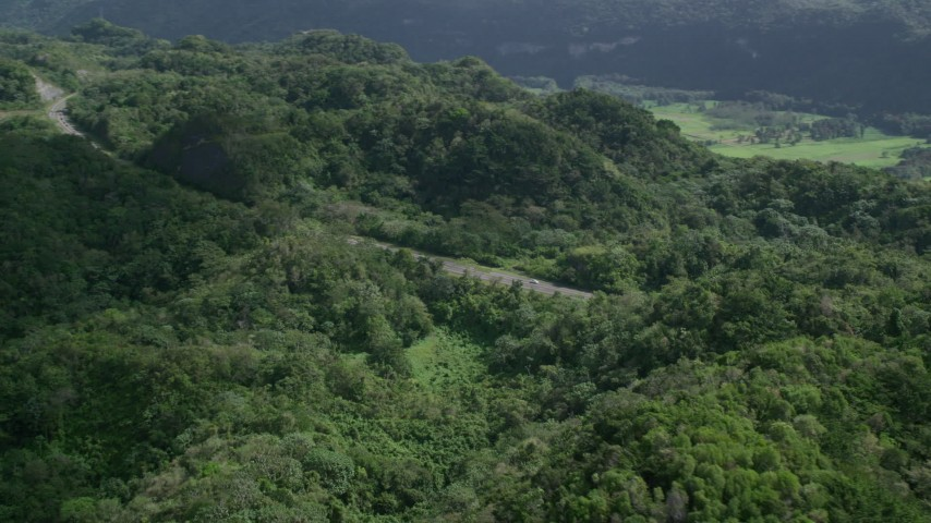 5k stock footage aerial video of a Highway cutting through lush green forests, Karst Forest, Puerto Rico Aerial Stock Footage | AX101_076